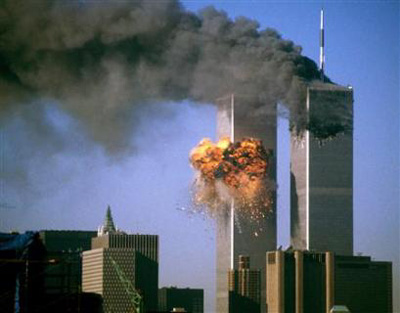 World Trade Towers on fire, September 11 Attacks