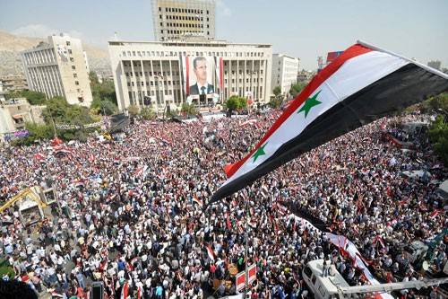 One of the tens of rallies of hundreds of thousands of Syrians held  to show support forthe Syrian Army & president Assad not shown in Western mainstream media